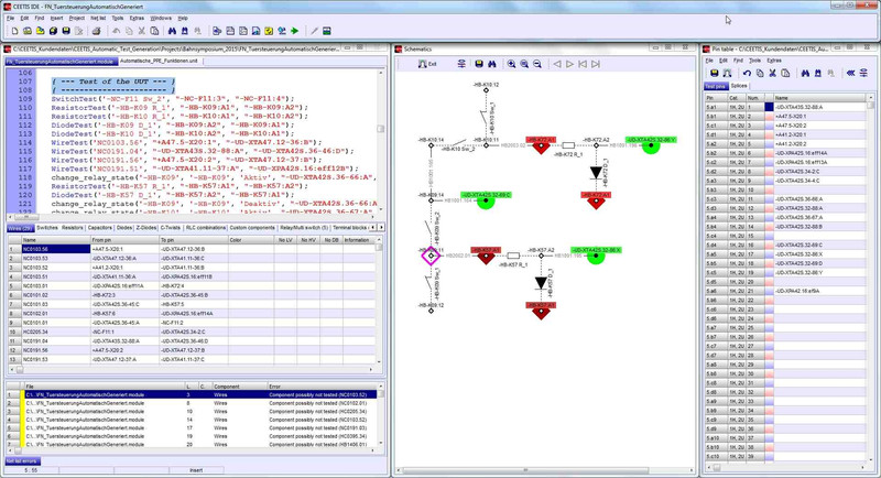 Image 3: Besides test script (left) pin table (right) and net list (bottom left) the circuit diagrams (schematic) can be displayed in CEETIS (middle).